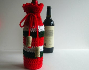 Wine Bottle Cover Crochet Cozy Gift Wrap - Red, Green and White with Cork Tassels - Christmas