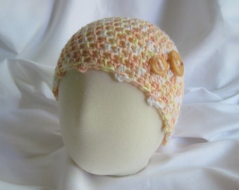 Baby Crochet Hat - Newborn to 3 Months - Peach with a Hint of Yellow with Button Accents