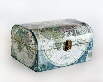 Blue Map of the World Wooden Decoupage Box Decorative Box Keepsake box Memory box Decoupage Jewelry Box Jewelry Organizer Jewelry Storage