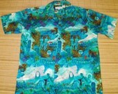 Mens Vintage 60s Native Hawaiian Life Duke Kahanamoku Aloha Shirt - L - The Hana Shirt Co