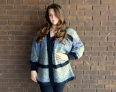 80s 90s Sweater Boyfriend Cardigan / Slouchy Oversize Flecked Fuzzy Mohair look Cozy Warm Gray Variegated Boho Chic / M L XL