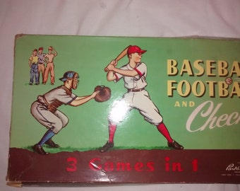 1957 Baseball, Football and Checkers , Game Board , 3 Games in 1 , Parkers Brothers Inc