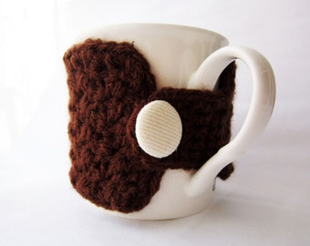 Brown coffee cup cozy, crochet coffee mug cozy, brown cup sleeve, brown tea cup cozy, gift for dad, gift for him, crochet mug cozy, geekery