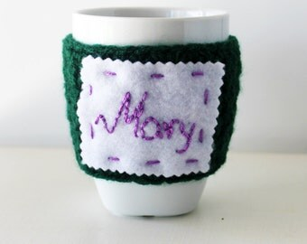 Personalized cup cozy, Custom name mug cozy, Personalized gift, Crochet coffee cozy, Personal crochet cup cozy, Custom name mug warmer