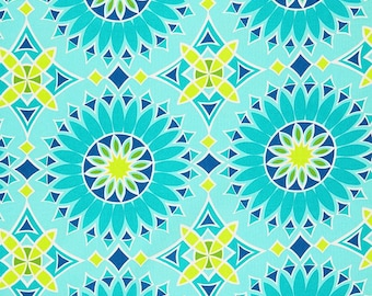 Trina Turk Soleil LA print Aqua, Outdoor Pillow Cover, Yellow, Aqua, Blue, Green, Geometric, Medallion, Pool Decor, Designer, Modern, summer