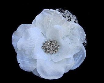 Soft White Lace Flower Hair Clip Fascinator with Rhinestones