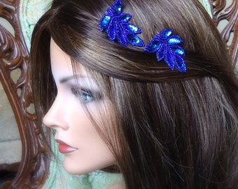 Royal Blue Leaves Hair Clips. Bridamaids, Flower Girls, Brides. More colors available.Leaf Applique collection -blue Sapphire01- (2 CLIPS)
