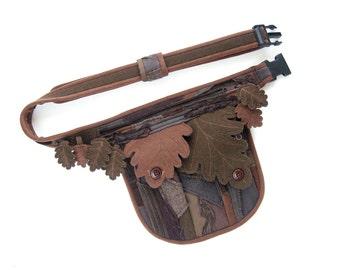 Fantasy belt bag - Forest hip pack with oak leaves and patchwork - Druid waist bag