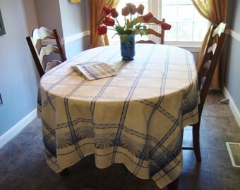 French Country Tablecloth with Napkins Vintage Blue and White Retro Table Linens