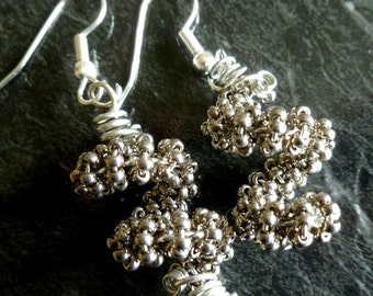 Silver beaded coil earrings on silver plate fish hooks