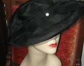 VINTAGE NEW LOOK Black Dish Style Hat with Rhinestone Accent, Retro 1940's, 50's