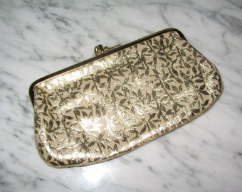 VINTAGE GOLD EVENING Clutch Purse 1950's Retro Glamour