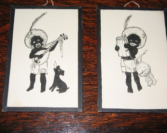"VINTAGE ""BLACKFACE"" PAIR, African American Artwork, Drawings, American Folk Art"