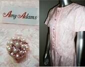 Vintage 3 Pc Dress Suit Amy Adams Couture Pink Brocade
