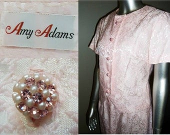 Vintage 3 Pc Dress Suit Amy Adams Couture Pink Brocade