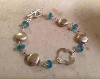 Blue Bracelet - Sterling Silver Jewelry - Quartz Gemstone Jewellery - Fashion - Flower Connector