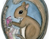 "Squirrel Art Print (6x8) ""Sherman Squirrel Reads a Tale"" Nursery Wall Decor Animal Reading Art"