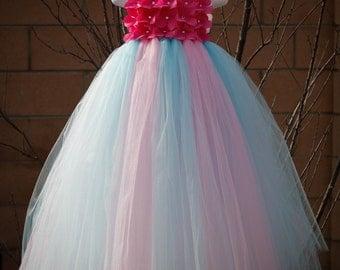 Flower girl dress Eggplant ,Paris Pink and Aqua tutu dress, baby tutu dress, toddler tutu dress, wedding, birthday,