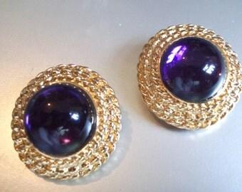 Vintage Signed Les Bernard Purple Cabochon Clip Back Earrings