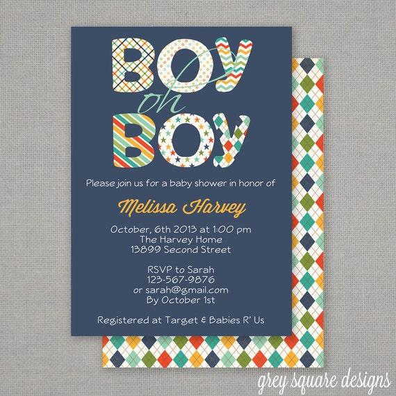 Boy Oh Boy Baby Shower Invitation