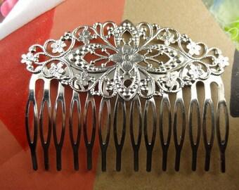2 pcs Silver Plated w /14Teeth Barrette Hair Combs