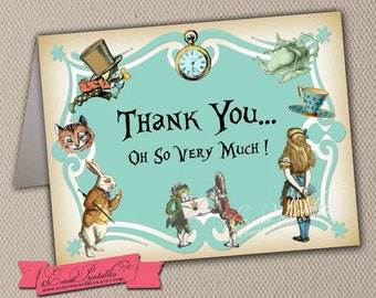 Alice in Wonderland Thank You Card in Blue, Printable Folded Card A1 Size, Baby Shower, Bridal Shower, INSTANT DOWNLOAD by Event Printables