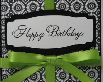 Elegant Black and White and Apple Green Happy Birthday Greeting Card