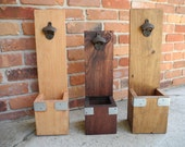 1 Wood Stained Wall mounted Wooden Bottle Opener with Cap Catcher