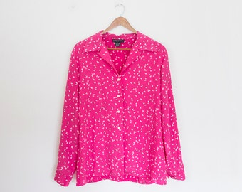 Vintage 80s Womens Pink HALSTON Blouse Button Up Shirt