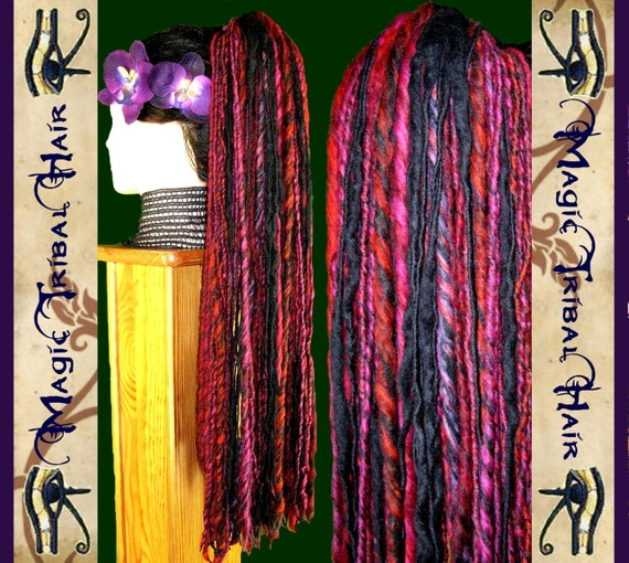 PURPLE DREAD hair FALLS 112 dreadlocks  24''/ 60 cm long Tribal Fusion belly dance extensions Anime Lolita Goth Wig Goa rave Larp costume