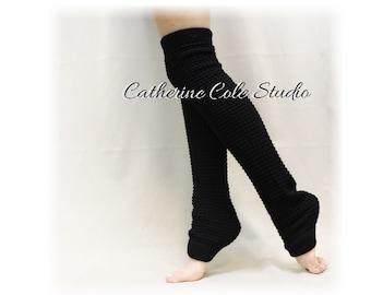 DANCE CRUSH  Black Leg warmers knit legwarmers dance yoga pilates ballet leggings knit leg warmers popcorn knit  Catherine Cole Studio LW02