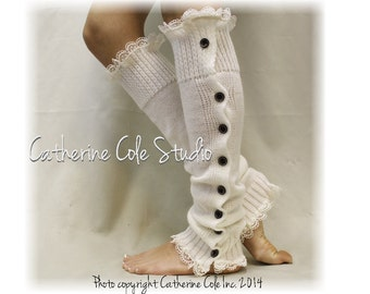 Button down cream Leg warmers for boots, legwarmers, lace leg warmers, knit leggings, boot socks, country wedding, boho LW15