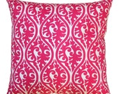 CLEARANCE Toss Pillow Cover, Candy Pink Kimono Pillow, 18x18 Zippered Pillow, Hot Pink Pillow Case, Cushion Cover, Girls Room Decor, SALE
