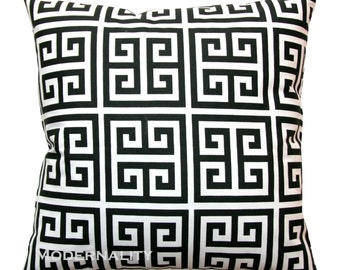 Greek Key Pillows, Black and White Towers Pillow Cover, Zippered Pillow, Black Cushion Cover, Black Pillow Case, Contemporary Home Decor,