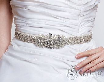 SALE LESLIE wedding bridal crystal pearl sash , belt