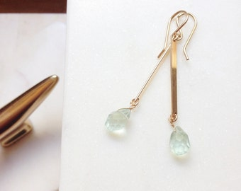 Rough Cut Aquamarine Earrings Bar Earring Gold Earrings Aquamarine Earrings Gold Filled Earrings March Birthstone March Brides