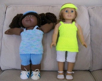 80) CLEARANCE  Knit Summer Top, Capris and Sun Visor for 15 and 18 Inch Dolls - American Girl, Cabbage Patch, Bitty Baby and Preemie Dolls