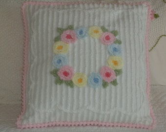 Chenille Flowered Pillow