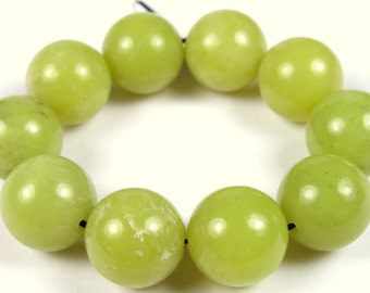 Last Strand DOUBLE SALE - was 11.99 and 10.49 - Luscious Olive Jade Round Bead - 12 mm - 10 Pieces - A7053