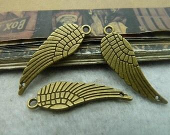 50pcs 9x30mm The Fly wings Antique Bronze Retro Pendant Charm For Jewelry Bracelet Necklace Charms Pendants C6122