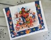Cotton G W Prismacolor Kitchen Towel Music Man Amusement Park Colorful Kitchen Towel Retro Towel Vintage Dish Towel