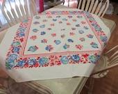 NBU Marlene Tablecloth Daisy Tablecloth Colorful Tablecloth Floral Tablecloth 1950s Tablecloth Cotton Tablecloth Red and Blue