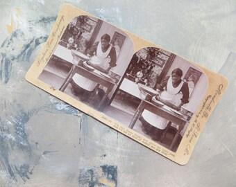 Black Americana Antique Mammy Stereoscope Card with Mammy Black Americana Card Keystone View Company 12323 Goo Goo Eyes