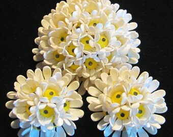 Vintage West Germany Domed Daisy Brooch and Earrings - C Clasp - Demi Parure