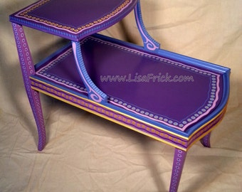 SOLD sample of CUSTOM WORK- Two Tier Purple Side Table- Custom Hand Painted Furniture Made to order