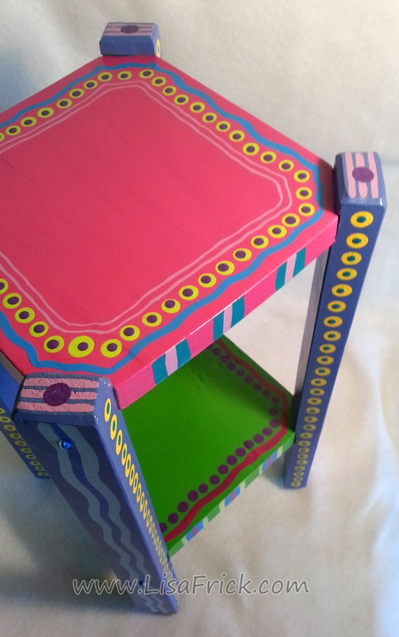 Cute Small Hand Painted Side Table With Hot Pink Top