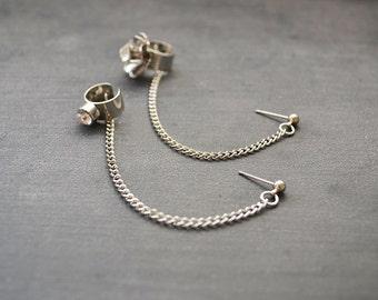 Crystal and Flower Ear Cuff Earrings Set