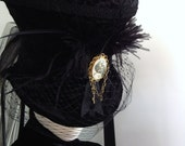 Raven's Mad hatter Victorian mourning/riding hat - Blackpin