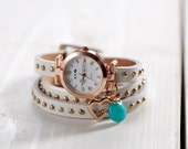 "Leather - Wristwatch, rose-gold ""Heartbeat"""
