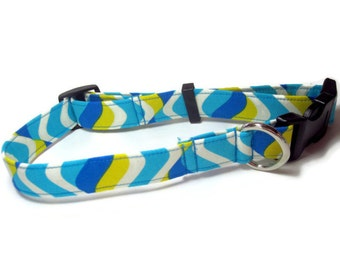 Blue Waves Dog Collar size Large